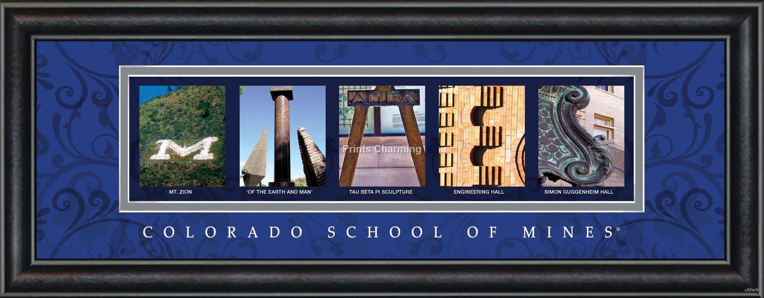 Prints Charming Letter Art Framed Print, Colorado School of Mines-Mines, Bold Color Border