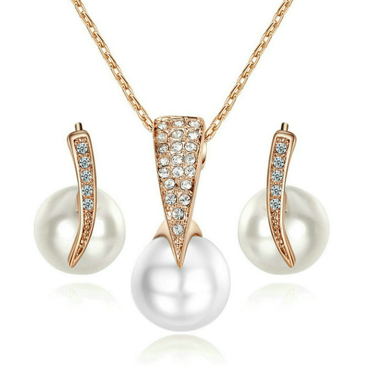 Yoursfs Pearl Jewelry Sets For Women Bridal 18K Rose GP Crystal Pendant Necklace and Earrings Set S275R1-CA