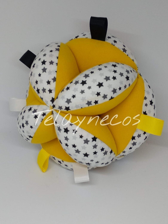 Pelota Montessori amarilla estrellas grises con tiras: Amazon.es ...