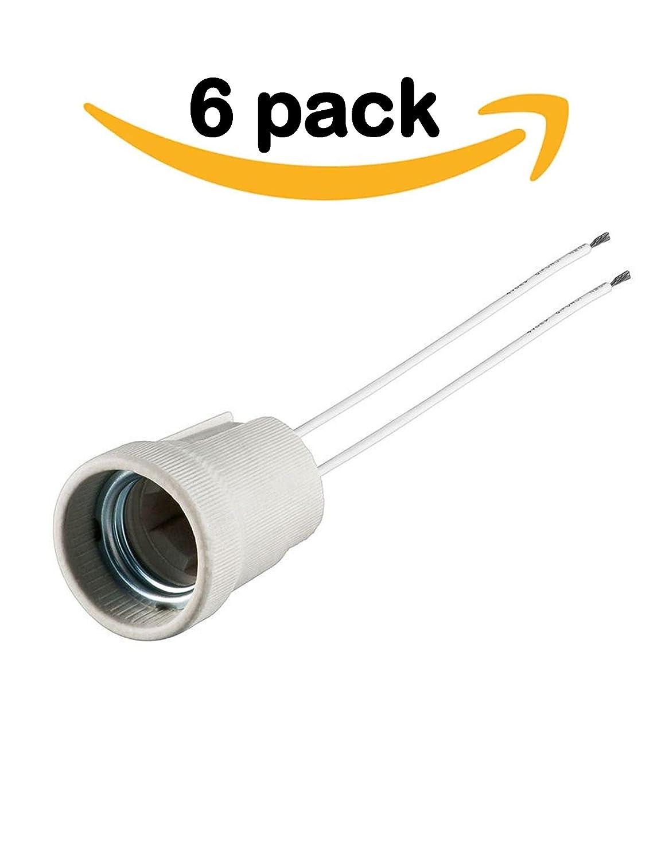 E27 Light Bulb Holder 6 Pack Socket Ceramic Edison Screw Wiring Diagram Base Lamp Mount Led Lights And Standard Bulbs