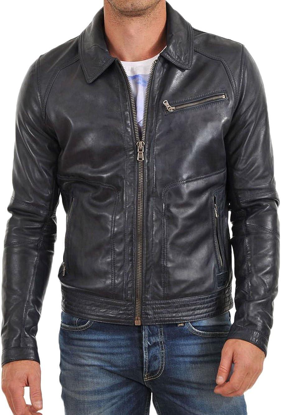 Kingdom Leather Men Slim Fit Biker Motorcycle Cow Leather Jacket Coat Outwear Jackets XC1238