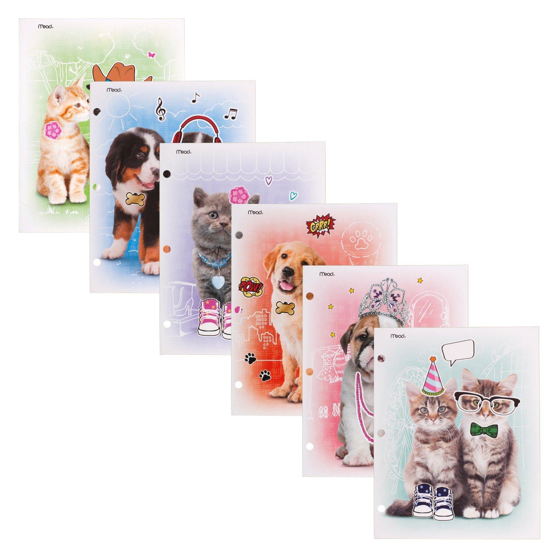 Mead 2 - Pocket Folder, Purrs & Grrrs, 6 Pack (38181)