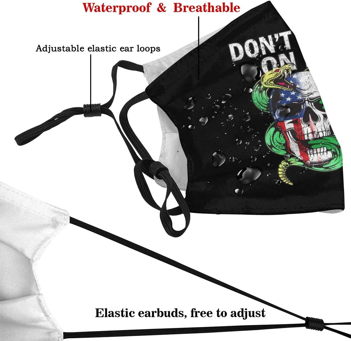 Adults Anti-Dust Mouth Protection Snake Do Not Tread On Me American Flag Half Face Adjustable for Women Men with Filter
