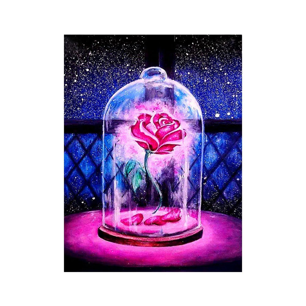 Profusion Circle Red Rose 5D Diamond Painting Full Kits DIY Handmade Rhinestone Embroidery Cross-Stitching Set Home Wall Decor