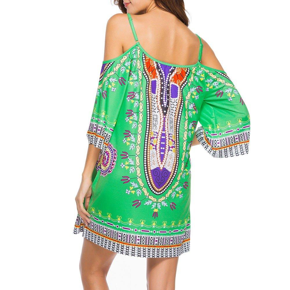 HAALIFE◕‿Women's Tribal Print Kimono Sleeve Geometric Tunic Boho Dress Green by HAALIFE Women's Clothing (Image #4)