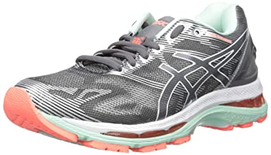 ASICS Women's Gel-Nimbus 19 Running Shoe, Carbon/White/Flash Coral,