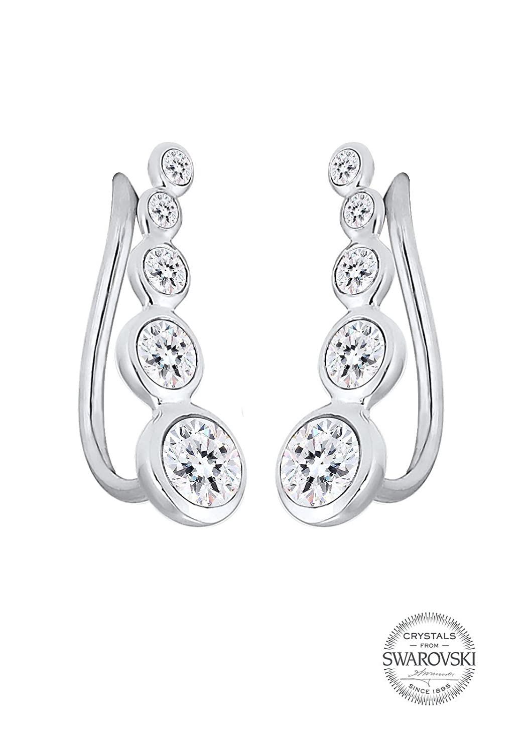 858107b92 Elli Women's Earring Ear Cuff Circle with Swarovski Crystals in 925  Sterling Silver: Amazon.co.uk: Jewellery