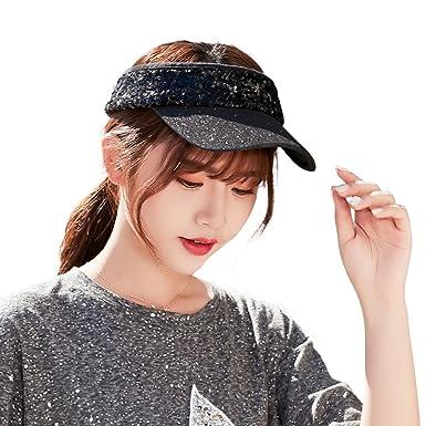 2bd52e7bef56a SiggiHat Women Sequin Visor Sun Hat Wide Brim UPF 50 Summer Travel Beach  Garden Golf Tennis Hat Fashion Black 55cm -58cm  Amazon.co.uk  Clothing