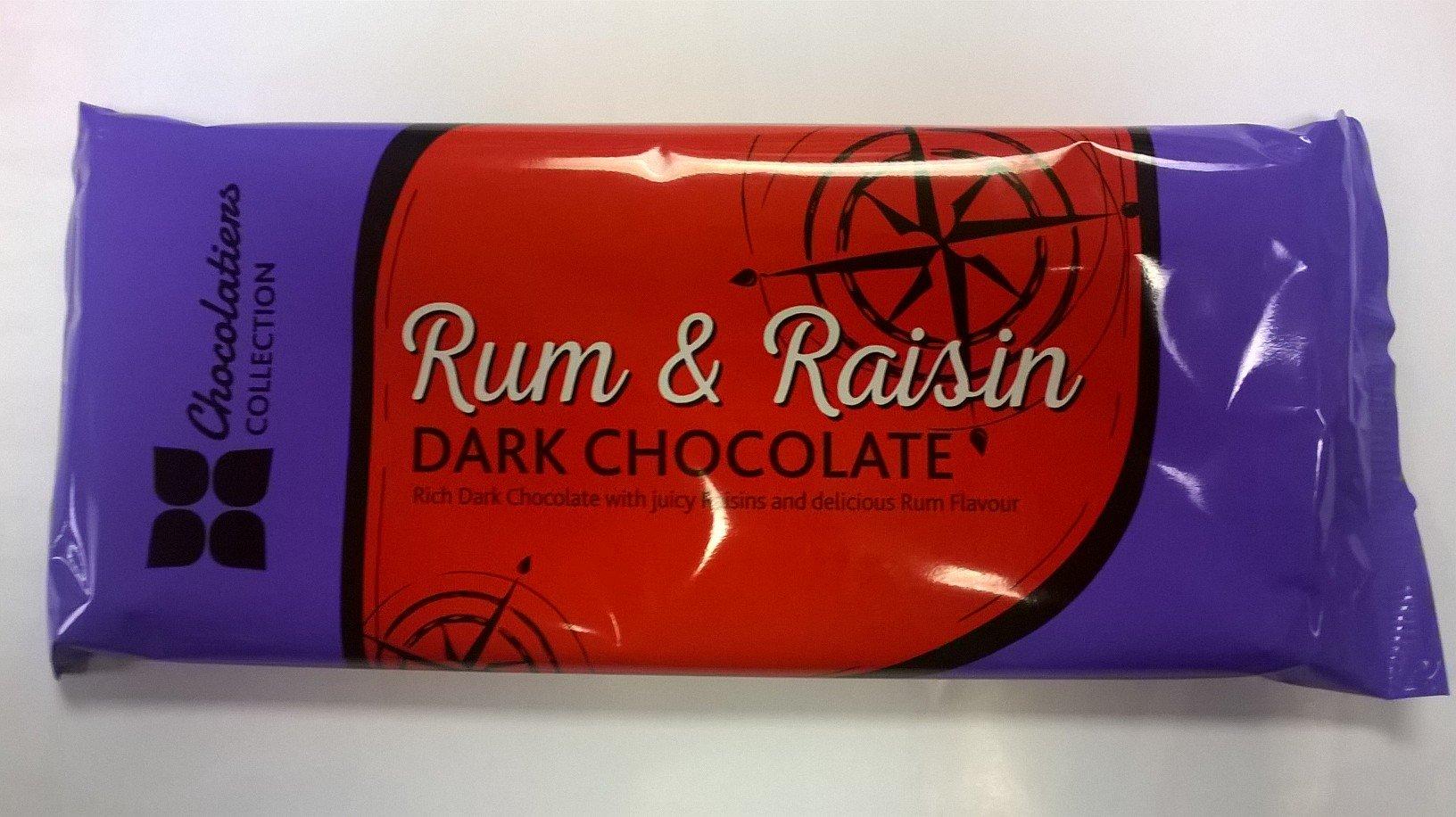 Rum & Raisin Dark Chocolate 160g Bar