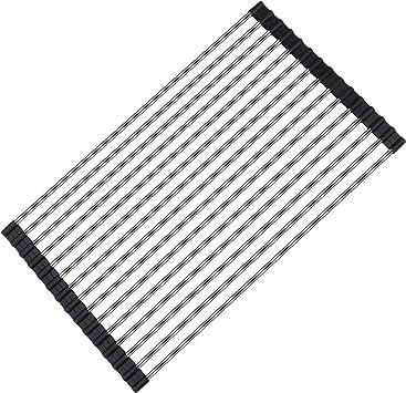 Image of Escurreplatos de Cocina Enrollable Multiusos Escurreplatos de Acero Inoxidable 304 para Fregadero Plegable Escurridor de Encimera 45x26CM