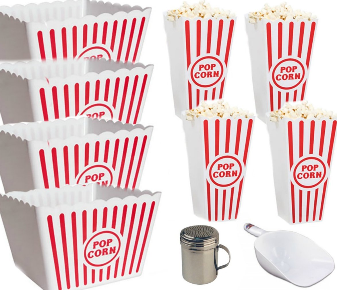 Plastic Popcorn Containers - Set of 4 Large Serving Bowls | 4 Popcorn Boxes Scoop & Shaker
