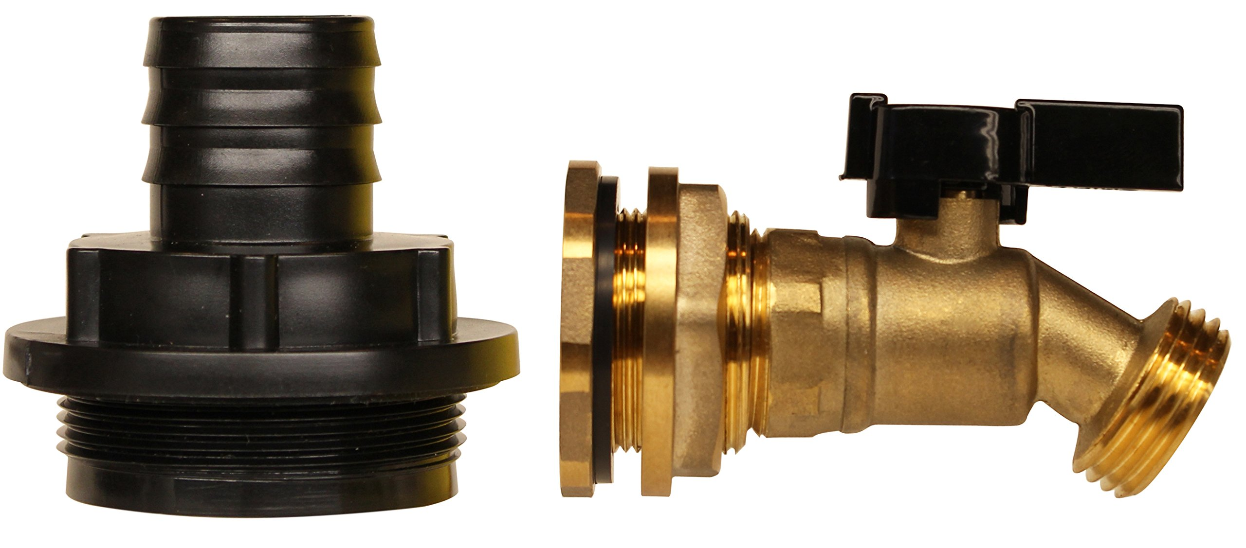 """RAINPAL RBIO125F Rain Barrel Inlet Outlet DIY Kit (HDPE Fine 2"""" Bung to 1-1/4"""" Barbed Fitting and Brass Ball Valve Spigot w/Bulkhead Fitting)"""