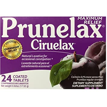Prunelax Ciruelax Maximum Felief Natural Laxative for Occasional Constipation 24 Tablets