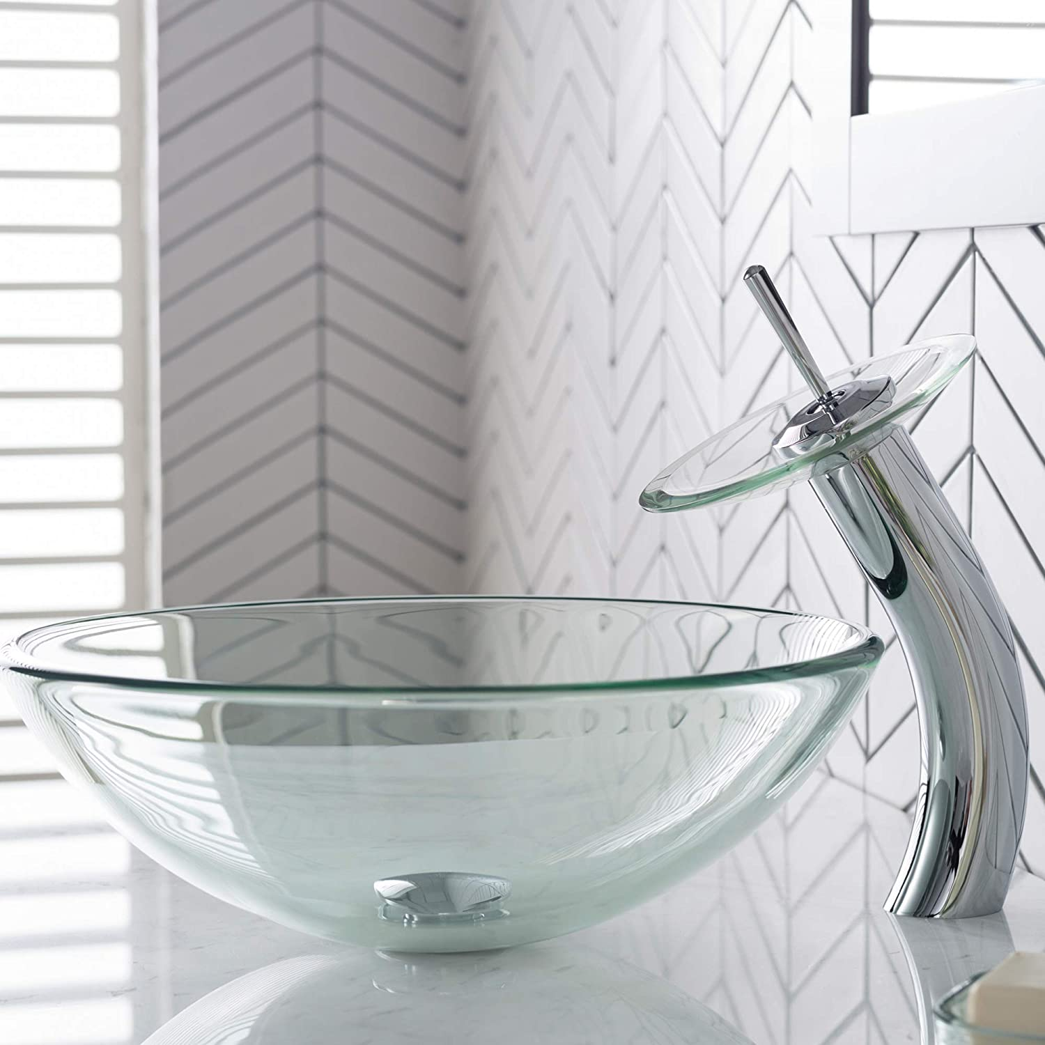 Kraus C-GV-101-12mm-10CH Clear Glass Vessel Sink and Waterfall Faucet Chrome