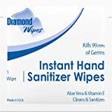 """Diamond Wipes Instant Hand Sanitizer Alcohol Wipes 65% Ethyl Alcohol Bulk Pack 1000ct 5x5"""" Individually Wrapped Packets Made"""