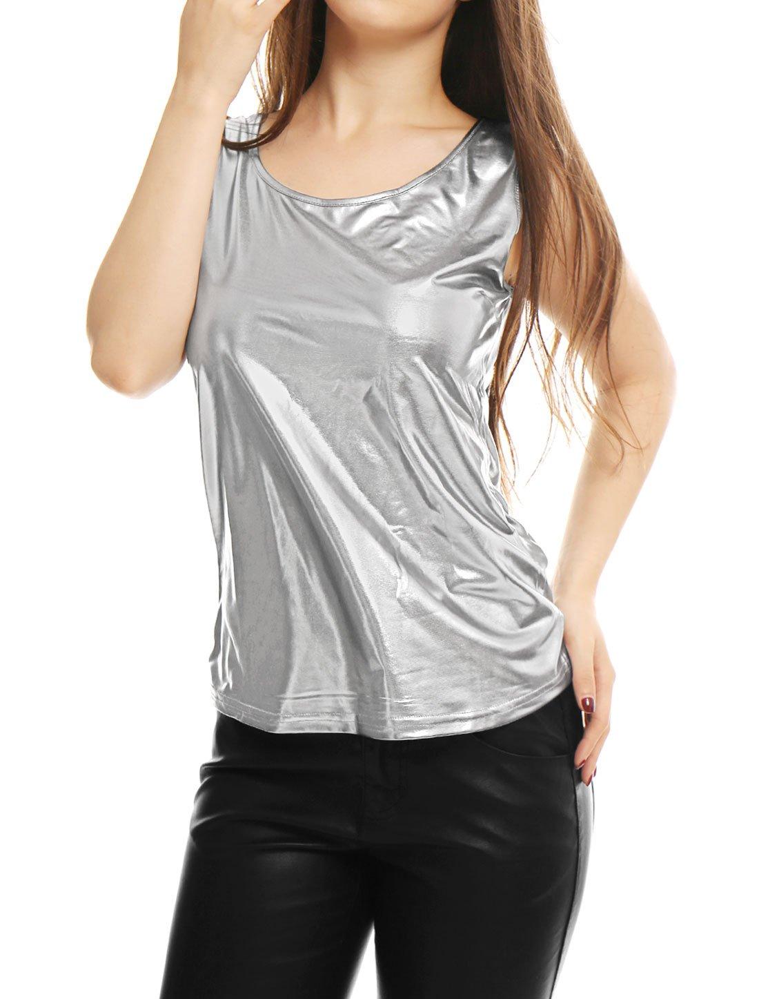 Allegra K Women's U Neck Stretchy Slim Fit Metallic Tank Top Silver XS (US 2)