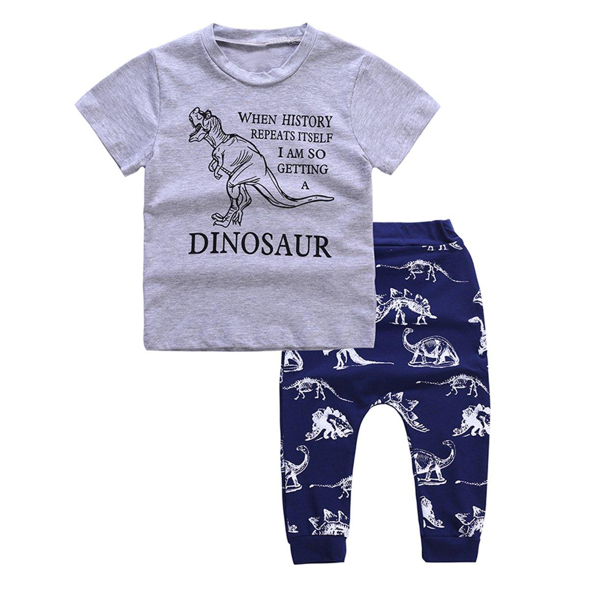 Baby Boys T-Shirt+ Shorts Set Cotton Dinosaur Casual Outfits Clothing Borlai