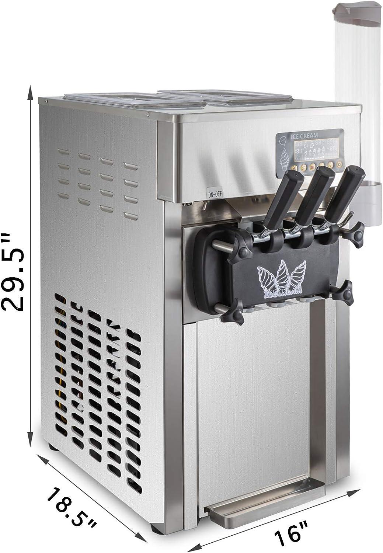 Macchina del Gelato con 2 VEVOR Macchina per Gelato Soft 1200W Ice Cream Maker 16-18L // 4.2-4.7 Gallon per Ora 1 Gusti A168 Macchina Gelato Professionale 220V