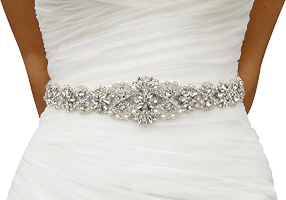 Lovful Womens Crystal Rhinestone Braided Wedding Dress Sash Belt