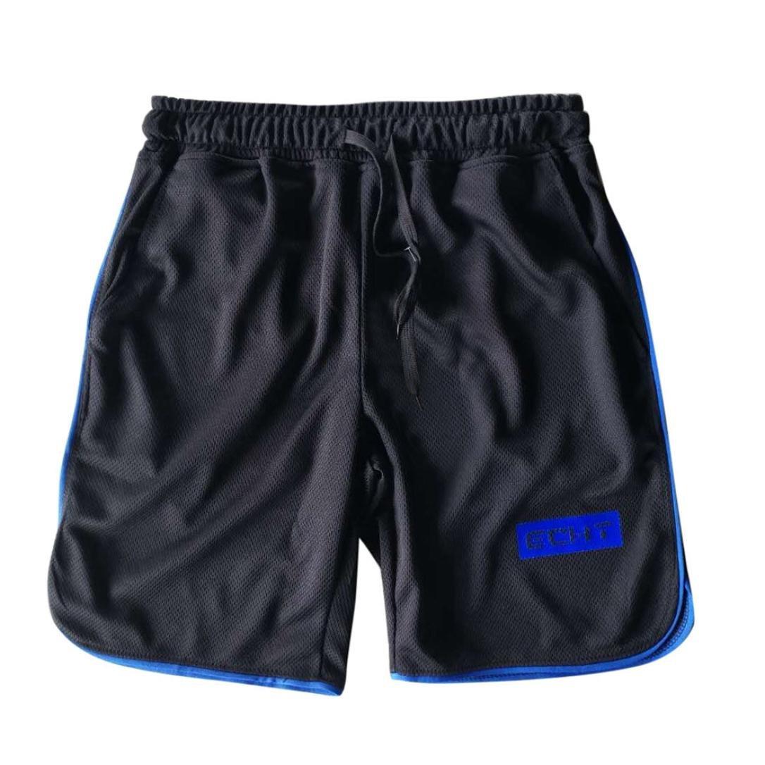 Binmer Clearance Sale Men's Sports Training Bodybuilding Summer Shorts Workout Fitness Gym Short Pants (M, Blue)