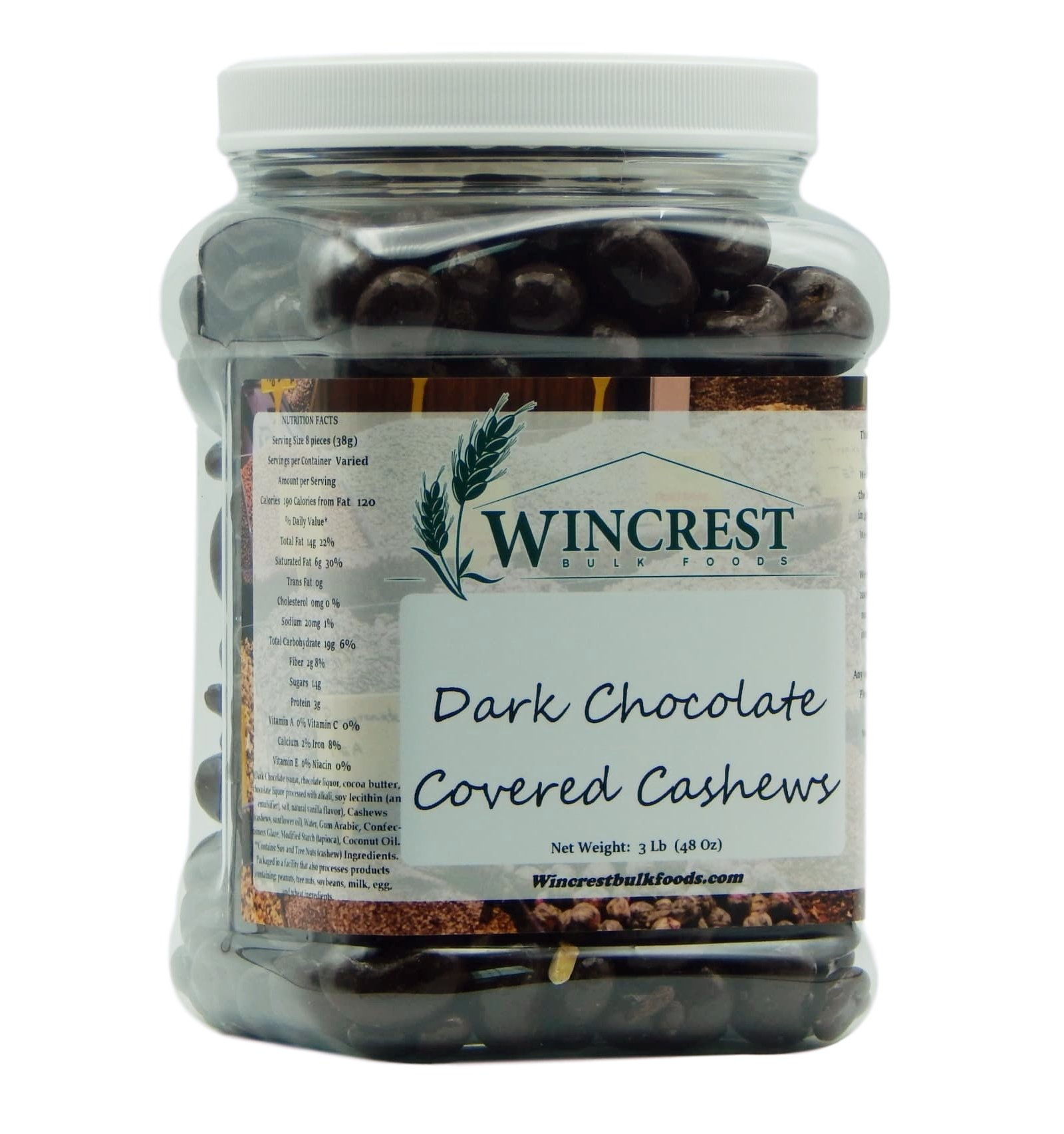 WinCrest Dark Chocolate Cashews (3 Lb Tub)