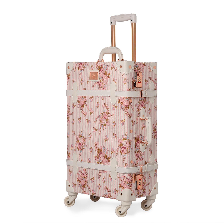 スーツケース 軽量 キャリーケース 復古主義 トランク【2年間修理保証】静音四輪 旅行 キャリーバッグ 小型 機内持込可 B06Y2GRTDW チェリーピンク XL (26)型