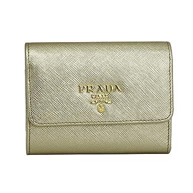1e94c7fbbde0 Prada Gold Saffiano Leather W/Metal logos Tri-fold Wallet 1MH840 ...