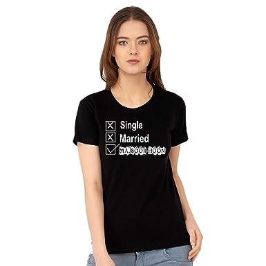 1b0dae6bb8b5de Ezellohub Printed Women Tshirt Round Neck Women Tshirt Half Sleeve Black  100% Cotton Tshirt for