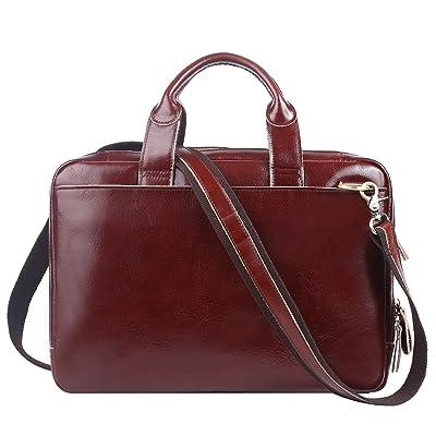 0373505e682 cheap Leathario Mens Retro Leather Briefcase Laptop Bag Business Messenger  Bag Cowhide Bag