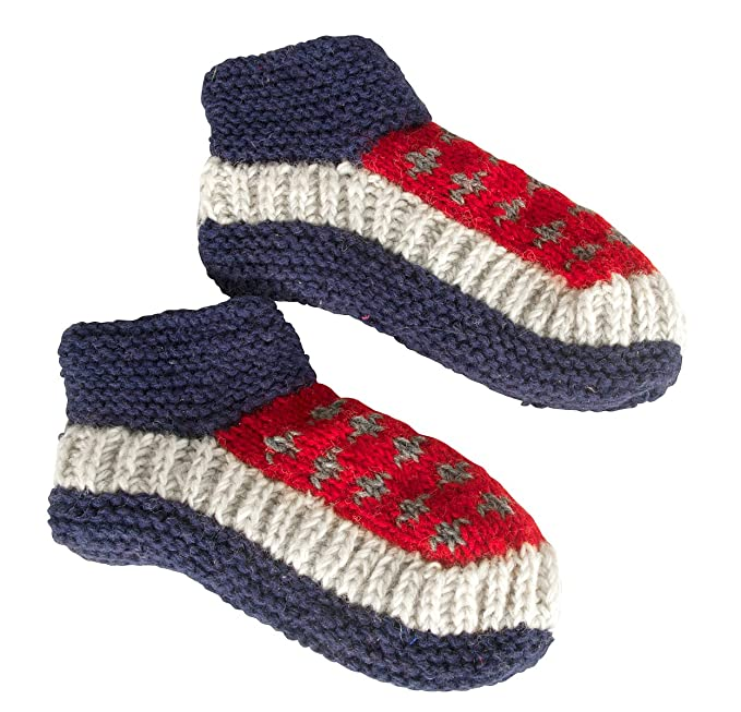 d996686d30b8 Tribe Azure 100% Wool Slipper Indoor Cosy Warm Winter Shoes Socks Natural  Slip On Knitted (Blue Red) at Amazon Women's Clothing store: