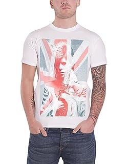 David Bowie Union Jack /& Sax Official Mens White T-Shirt Retro Vintage