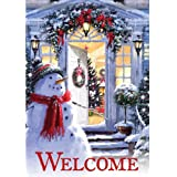 """Christmas Welcome Snowman Holiday 28"""" x 40"""" Double Sided Outdoor Flag"""