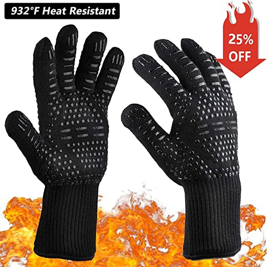 New Design 932°F Heat Resistant BBQ Gloves Oven Mitts Also With Cut Water Proof