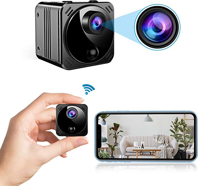 Mini Spy Camera Wireless Hidden Cameras WiFi - Real 1080P HD Hidden Nanny Cam with Cell Phone App, Small Covert Security Camera with Night Vision Motion Detection for Home/Car/Indoor/Outdoor   Amazon