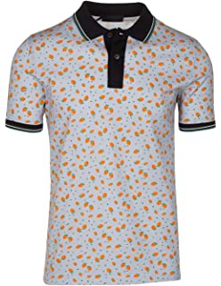 c8200d08764 Prada Men s Gray Cotton Strawberry Print Contrast Polo Shirt
