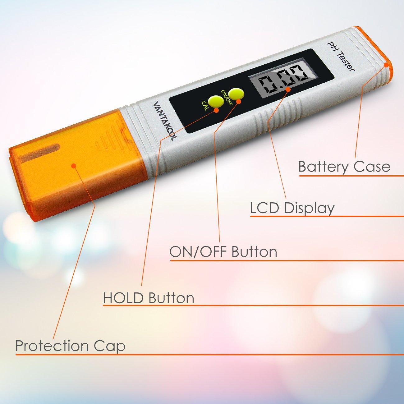 VANTAKOOL Digital PH Meter, 0.01 PH High Accuracy Pocket Size PH Meter/PH Tester with 0-14.0 Measuring Range, Water Quality Tester for Household Drinking Water, Swimming Pools, Aquariums (Orange) by VantaKool (Image #5)