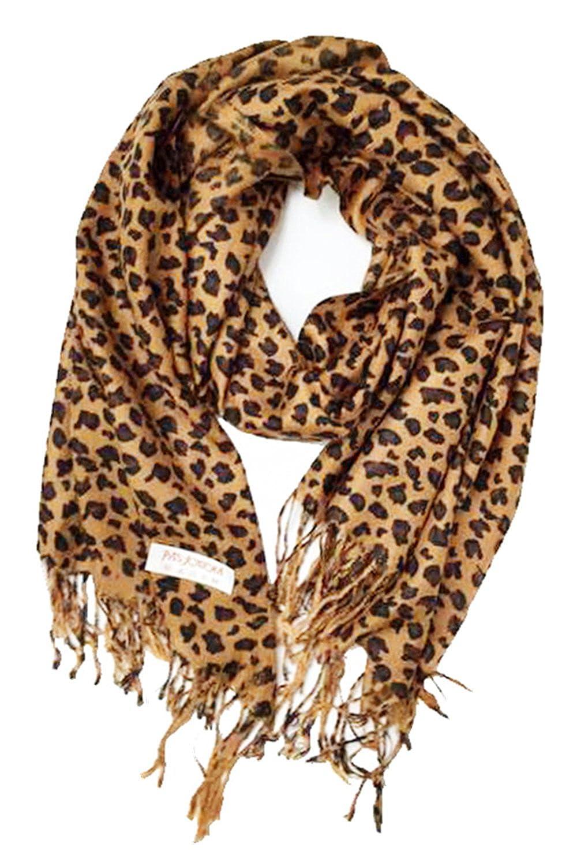 18350c5efcd Animal Print Fringed Shoulder Pashmina Wrap Scarf - Leopard Zebra Patterns