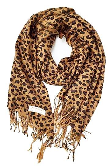 03dd49077f3bf Animal Print Fringed Shoulder Pashmina Wrap Scarf - Leopard Zebra Patterns  at Amazon Women's Clothing store: