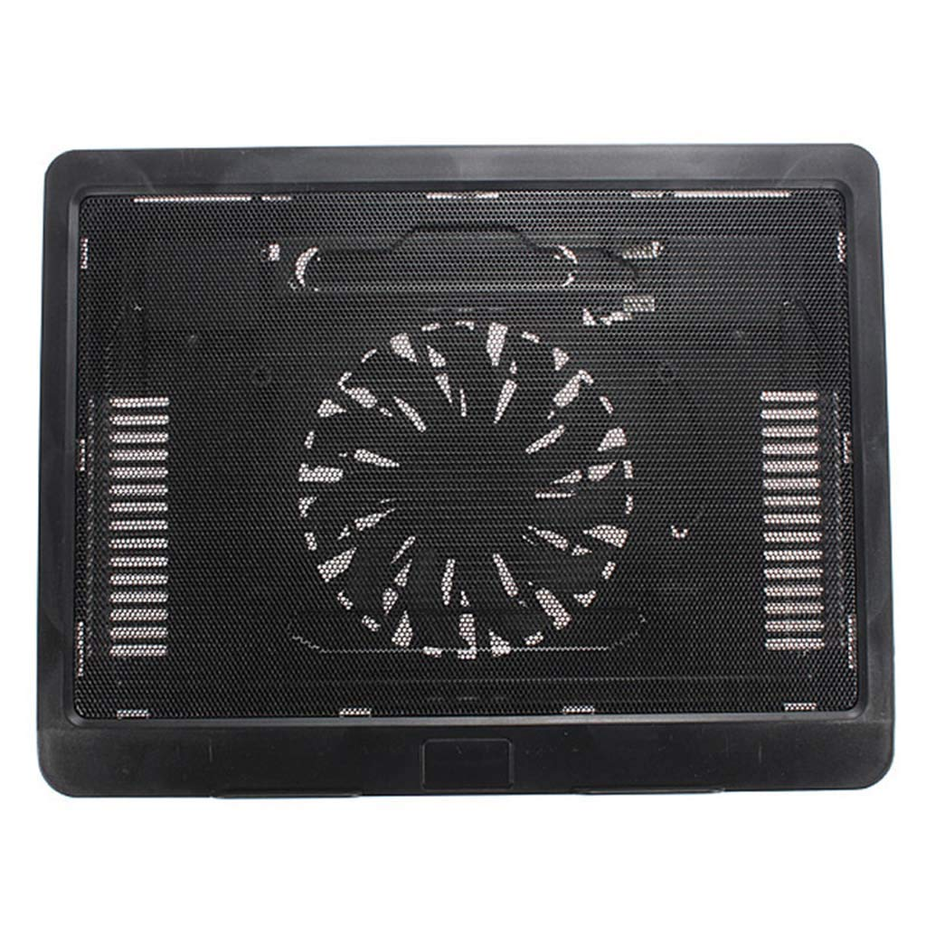 Color : White Gybai New Backlight Computer Radiator Black White Thin USB Laptop Cooling Pad Notebook Cooler Stand with 140mm LED Cooling Fan