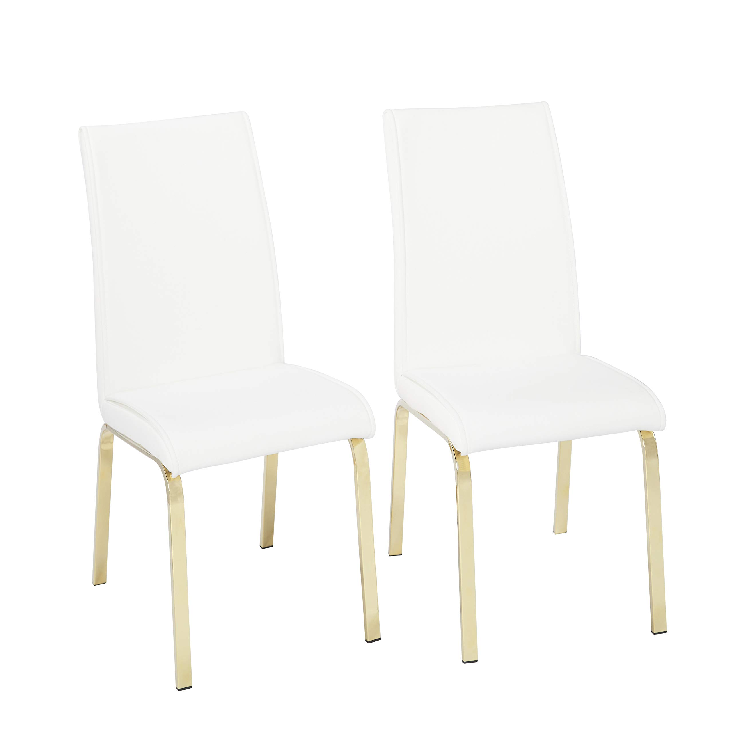 Target Marketing Systems 23118WHT PR Uptown Modern Upholstered Faux Leather Parson Dining Chair, Set of 2, White by Target Marketing Systems