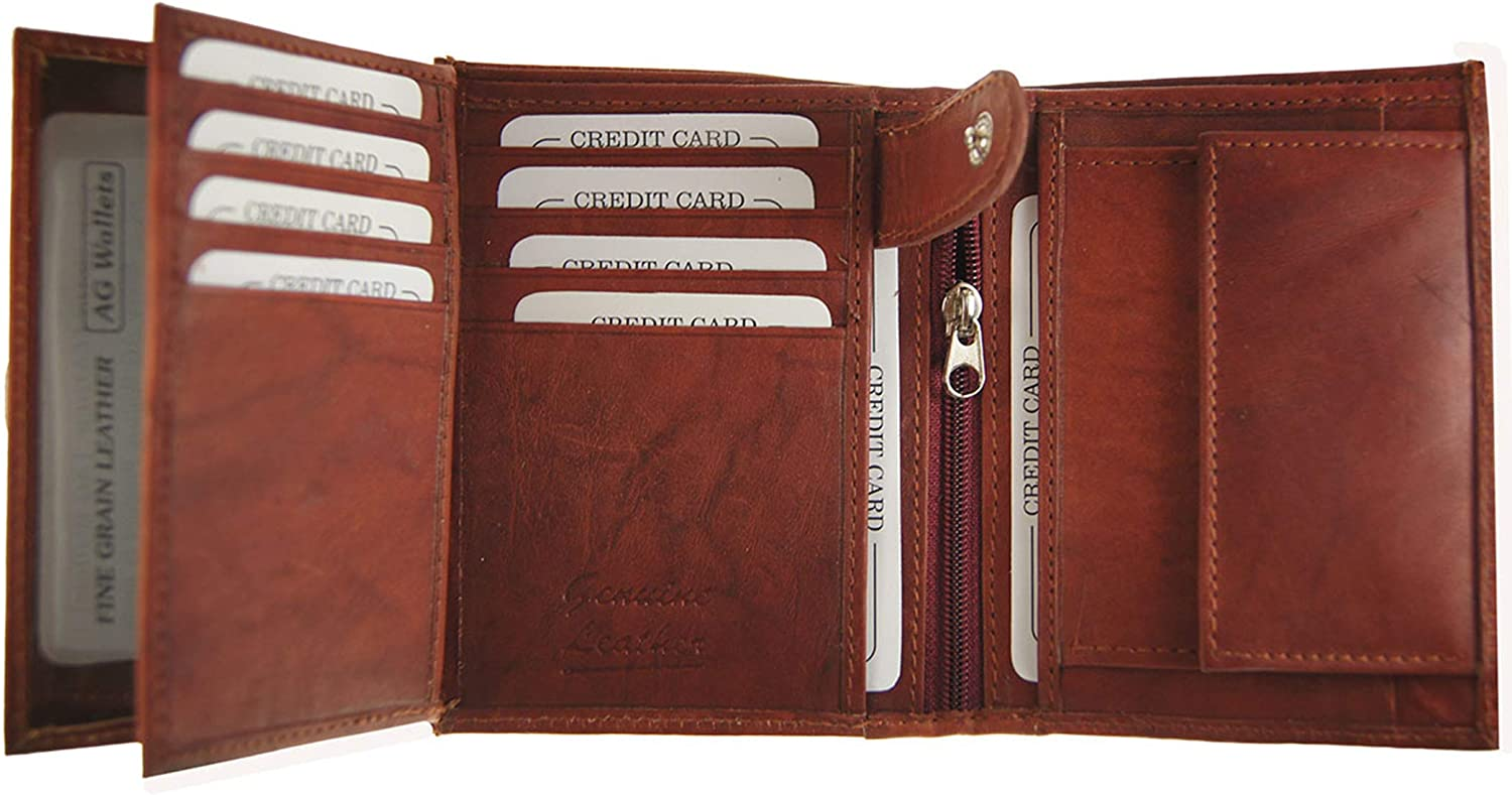 AG Wallets Mens Premium Leather Slim Hipster Bifold Wallet With Inserts