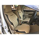 Autofact PU Leather Car Seat Covers for Tata Tiago in Beige and Black Color