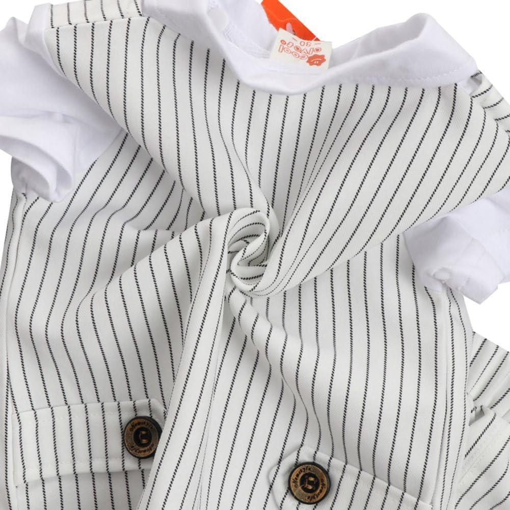 G-Kids /Baby Jungen 2-Teiliges Strampler Smoking Gentleman Anzug Kurzarm Streifen Outfits Sommer Kleidung Jumpsuit Spielanzug Taufkleidung mit/Fliege Wei/ß, 100//2-3 Jahre