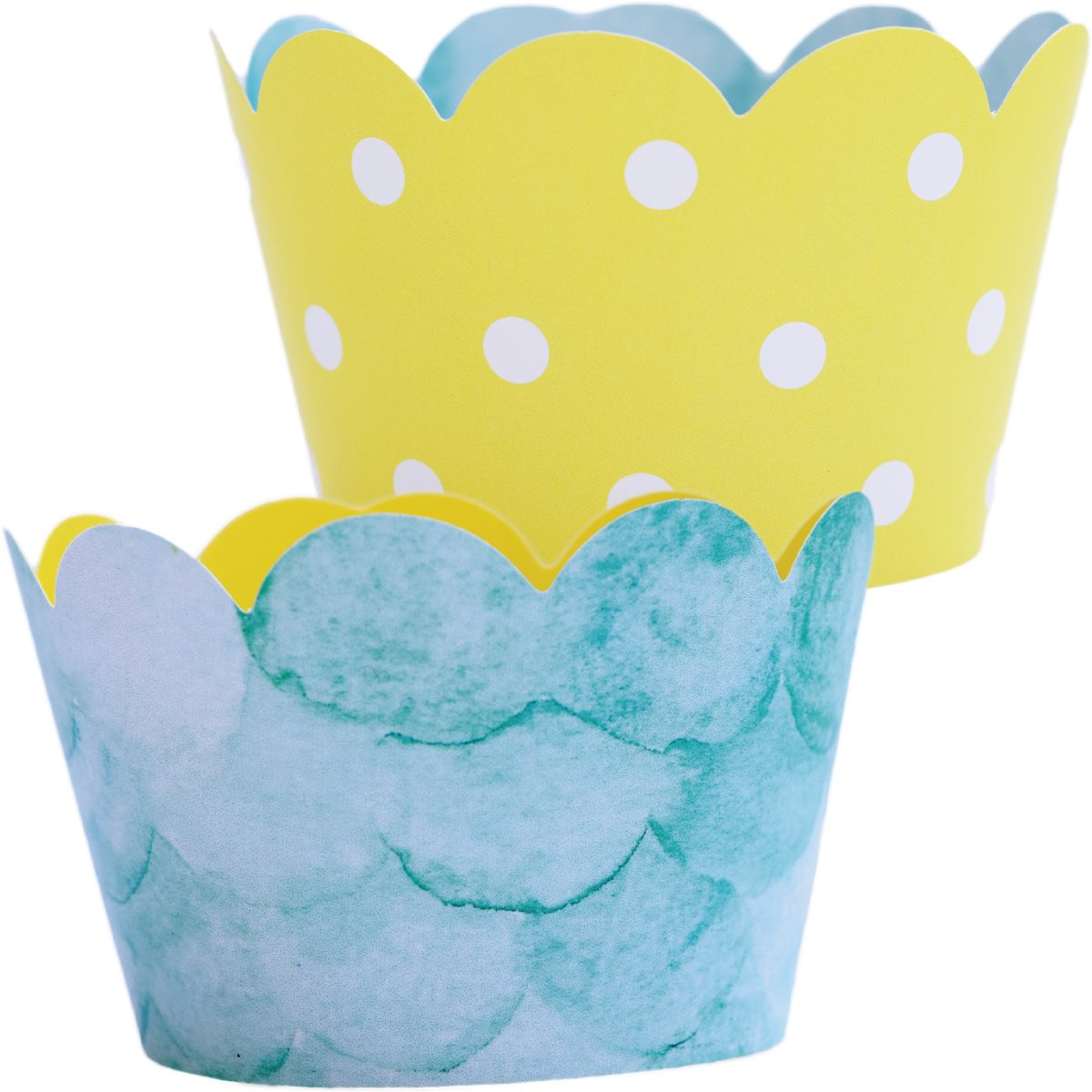 Baby Shower Shark Party Supplies - 36 Cupcake Wrappers | Reversible Yellow Polka-Dot, Water, You Are My Sunshine Party Decorations, Pool Party Supplies, The Big One Birthday Theme Fishing, Easter