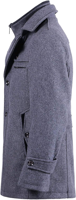 TFO Men Classic Wool Jacket Windproof Pea Coat with Detachable Collar Winter
