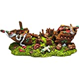 Exotic Environments Split Shipwreck Aquarium Ornament, Large, 11-Inch by 5-Inch by 4-1/4-Inch