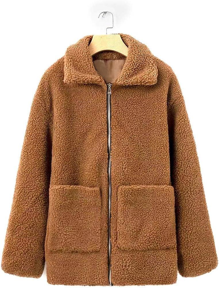 JOFOW Womens Fleece Jackets,Solid Cardigans Warm Fuzzy Padded Lapel Coat Autumn Winter Zipper Pocket Faux Shearling Parkas