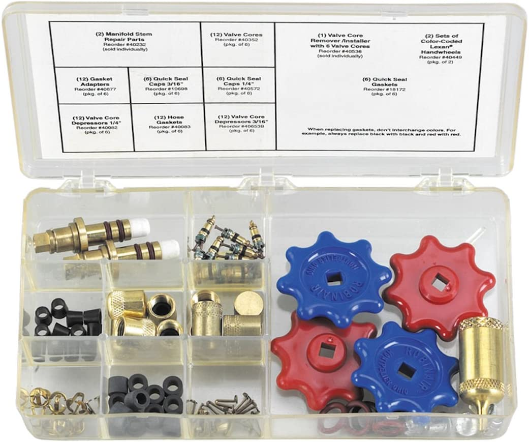 Robinair (18576) Replacement Parts Kit for R-134a Manifold Gauges and Hoses