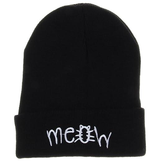 Amazon.com  Soyagift Winter Knit Meow Beanie Hat Men Women Winter ... 3de6cd86f81