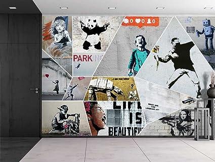 Amazoncom wall26 Peel and Stick Wallpapaer Banksy Art Series